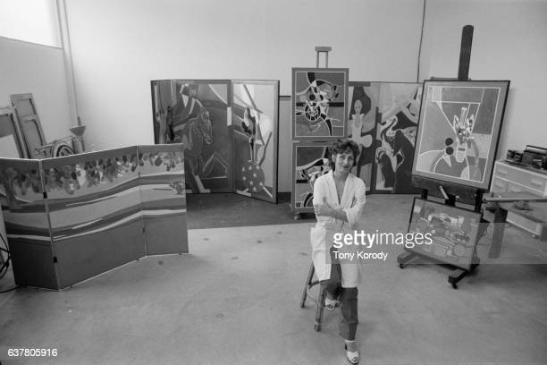 Francoise Gilot former model and friend of Picasso in her studio in San Diego
