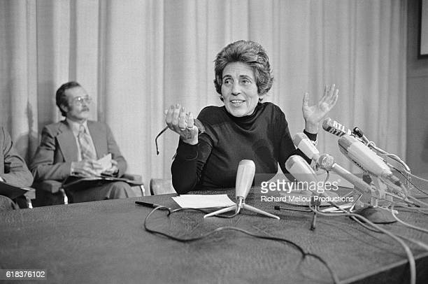 Francoise Giroud France's Secretary of State for the Condition of Women speaks to the press at the Hotel de Clermont in Paris Giroud also a prominent...