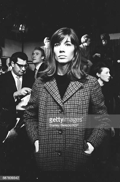 Francoise Hardy on set of TV show Ready Steady Go, Kingsway Studios, London, February 1964.