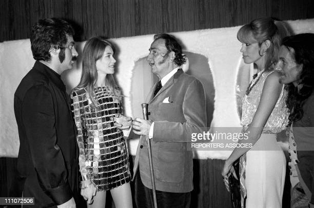 Francoise Hardy Salvador Dali and Amanda Lear in Paco Rabanne In France On May 19 1968