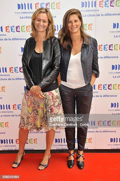Francoise Joly and Guilaine Chenu attends the 'France Televisions' press conference