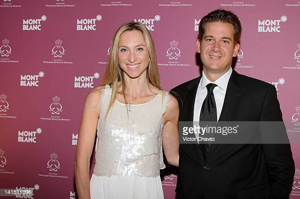 Francoise Lavertu and Dennis Stevens attend the Montblanc Grace Kelly collection introduction at Condesa on March 13 2012 in Mexico City Mexico