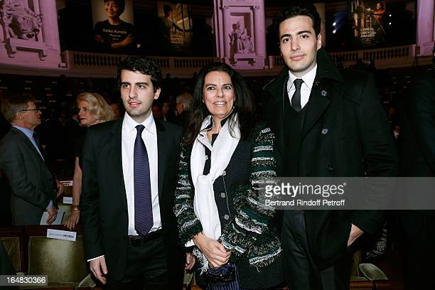 Francoise Meyers Bettencourt and sons Nicolas and JeanVictor attend 'L'OrealUNESCO Awards' For Women In Science 2013 Ceremony at La Sorbonne on March...