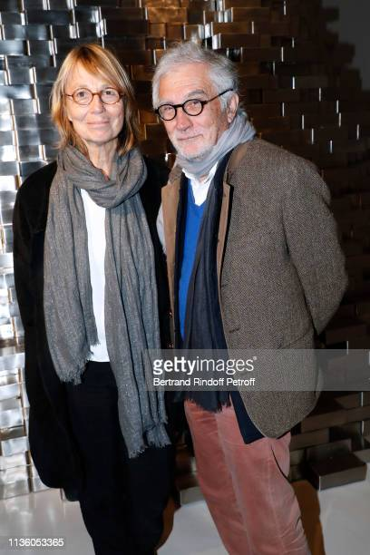 Francoise Nyssen and her husband JeanPaul Capitani attend the JeanMichel Othoniel Oracle Exhibition Preview at Gallery Perrotin on March 15 2019 in...