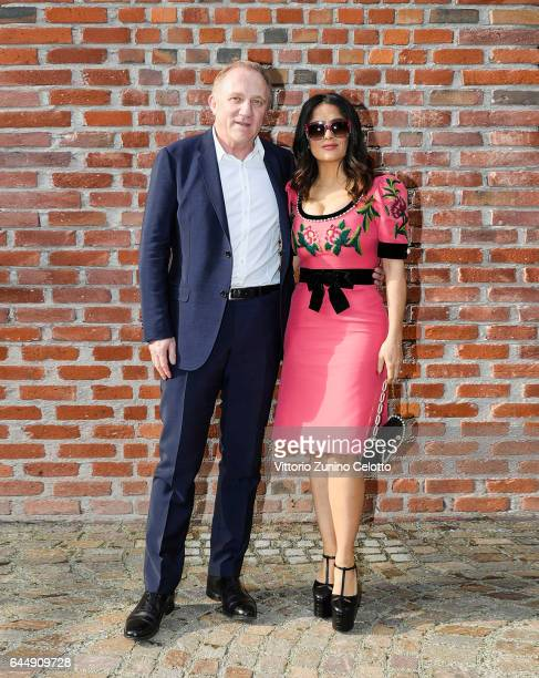 FrancoisHenri Pinault and Salma Hayek arrive at the Gucciy show during Milan Fashion Week Fall/Winter 2017/18 on February 22 2017 in Milan Italy