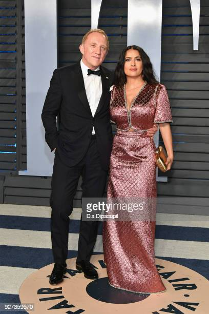 Francois-Henri Pinault and Salma Hayek attend the 2018 Vanity Fair Oscar Party hosted by Radhika Jones at Wallis Annenberg Center for the Performing...