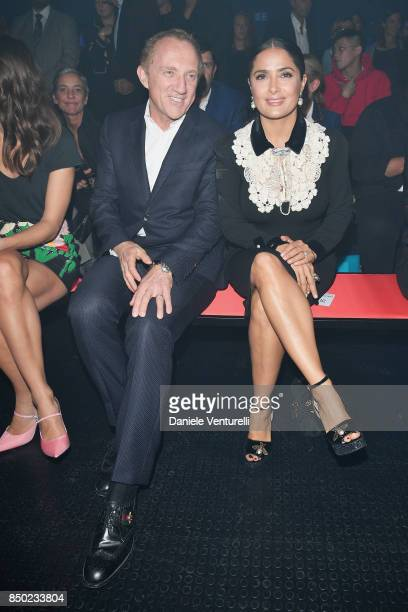 FrancoisHenri Pinault and Salma Hayek attend the Gucci show during Milan Fashion Week Spring/Summer 2018 on September 20 2017 in Milan Italy