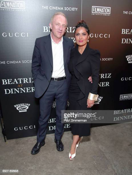 """Francois-Henri Pinault and Salma Hayek attend the Gucci & The Cinema Society Host A Screening Of Roadside Attractions' """"Beatriz At Dinner"""" at the..."""