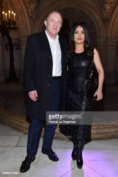 FrancoisHenri Pinault and Salma Hayek attend the Stella McCartney show as part of the Paris Fashion Week Womenswear Fall/Winter 2017/2018 on March 6...