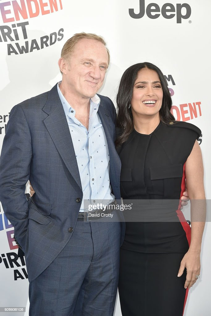 Francois-Henri Pinault and Salma Hayek attends the 2018 Film Independent Spirit Awards - Arrivals on March 3, 2018 in Santa Monica, California.