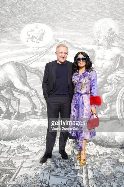 FrancoisHenri Pinault and Salma Hayek Pinault arrive at the Gucci show during Milan Fashion Week Autumn/Winter 2019/20 on February 20 2019 in Milan...
