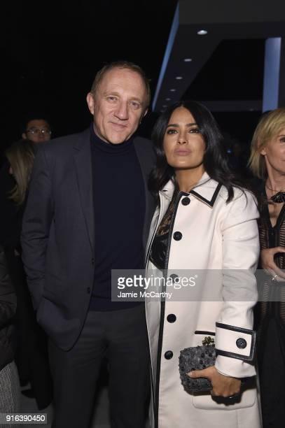 FrancoisHenri Pinault and Salma Hayek Pinault attend the Bottega Veneta Fall/Winter 2018 fashion show at New York Stock Exchange on February 9 2018...