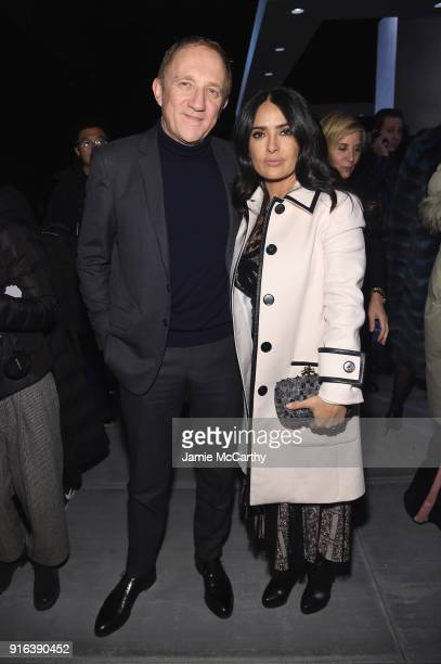 FrancoisHenri Pinault and Salma Hayek Pinault attend the Bottega Veneta Fall/Winter 2018 fashion show at New York Stock Exchange on February 9 2018...