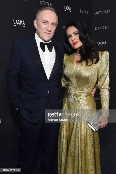 Francois-Henri Pinault and Salma Hayek Pinault, wearing Gucci, attend 2018 LACMA Art + Film Gala honoring Catherine Opie and Guillermo del Toro...