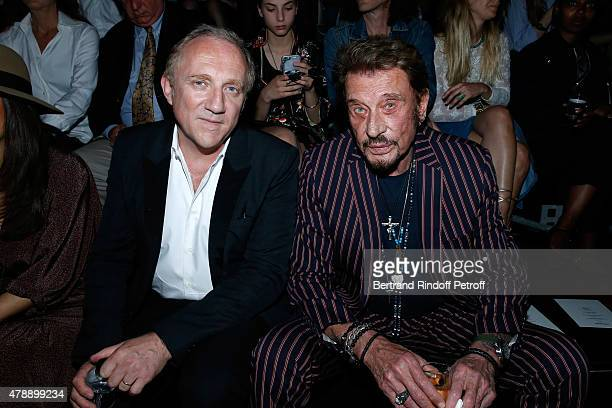 FrancoisHenri Pinault and Singer Johnny Hallyday attend the Saint Laurent Menswear Spring/Summer 2016 show as part of Paris Fashion Week on June 28...
