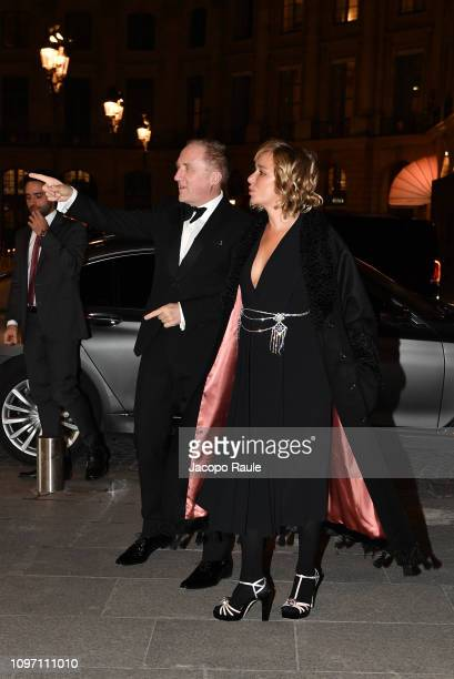 FrancoisHenri Pinault and Valeria Golino are seen arriving at Boucheron dinner on January 20 2019 in Paris France