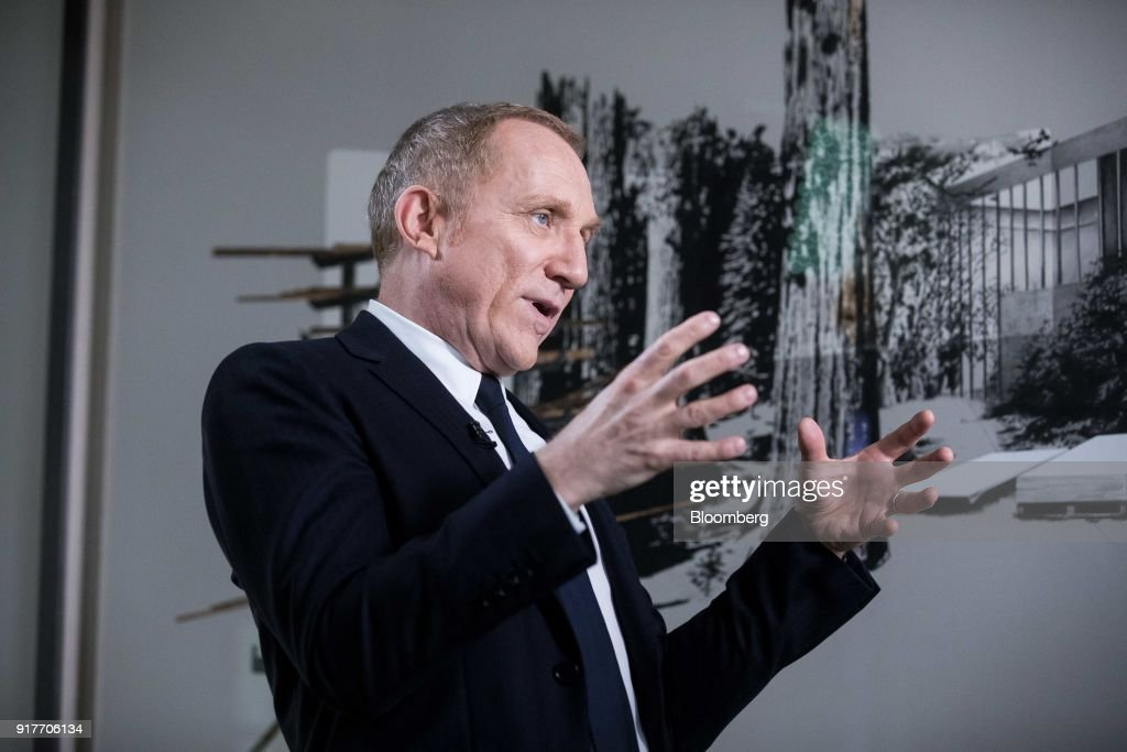Francois-Henri Pinault, chief executive officer of Kering SA, gestures during a Bloomberg Television interview following the announcement of the company's annual results in Paris, France, on Tuesday, Feb. 13, 2018. Kering brands ranging from Saint Laurent to streetwear label Balenciaga joined Gucci in reaping the fruit of youth-focused reboots. Photographer: Christophe Morin/Bloomberg via Getty Images