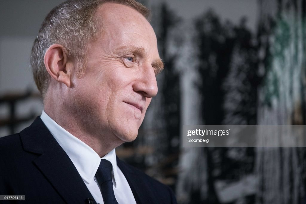 Francois-Henri Pinault, chief executive officer of Kering SA, pauses during a Bloomberg Television interview following the announcement of the company's annual results in Paris, France, on Tuesday, Feb. 13, 2018. Kering brands ranging from Saint Laurent to streetwear label Balenciaga joined Gucci in reaping the fruit of youth-focused reboots. Photographer: Christophe Morin/Bloomberg via Getty Images