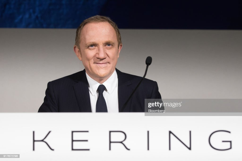 Francois-Henri Pinault, chief executive officer of Kering SA, reacts during a news conference to announce the company's annual results in Paris, France, on Tuesday, Feb. 13, 2018. Kering brands ranging from Saint Laurent to streetwear label Balenciaga joined Gucci in reaping the fruit of youth-focused reboots. Photographer: Christophe Morin/Bloomberg via Getty Images