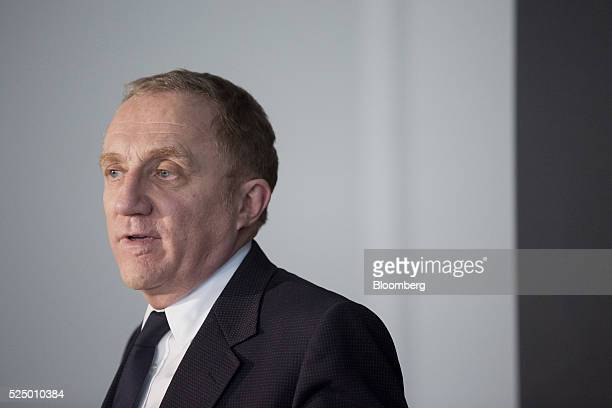 Francois-Henri Pinault, chief executive officer of Kering SA, speaks during a luxury partnership event at HEC business school in Paris, France, on...