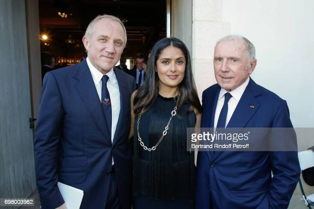 FrancoisHenri Pinault his wife Actress Salma Hayek and his father Francois Pinault attend the Dinner of 'Grands Crus Classes en 1858' on June 18 2017...