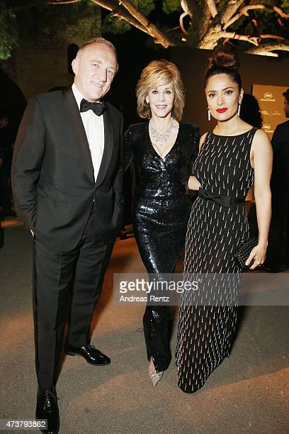 Francois-Henri Pinault, Jane Fonda and Salma Hayek attend the Kering Official Cannes Dinner at Place de la Castre on May 17, 2015 in Cannes, France.