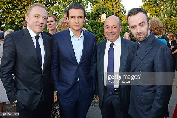 FrancoisHenri Pinault Orlando Bloom CEO of Brioni Francesco Pesci and Brendan Mullane attend The Serpentine Gallery Summer Party cohosted by Brioni...