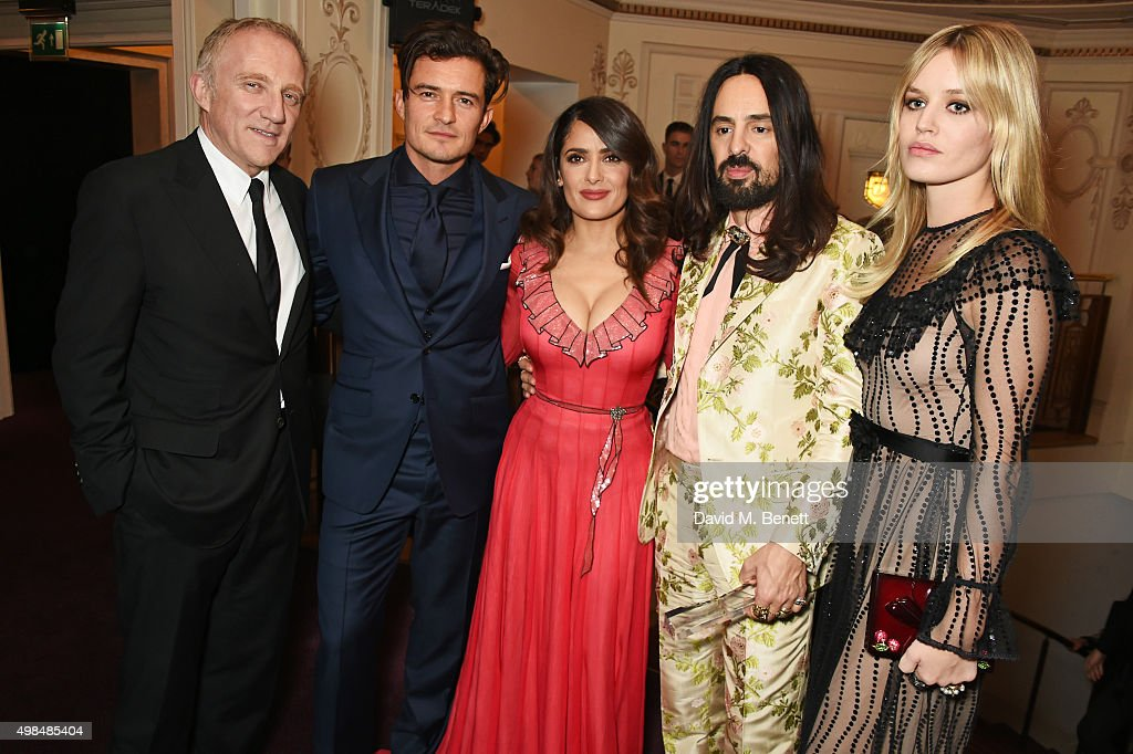 Francois-Henri Pinault, Orlando Bloom, Salma Hayek, Alessandro Michele, winner of the International Designer Award, and Georgia May Jagger attend the British Fashion Awards in partnership with Swarovski at the London Coliseum on November 23, 2015 in London, England.