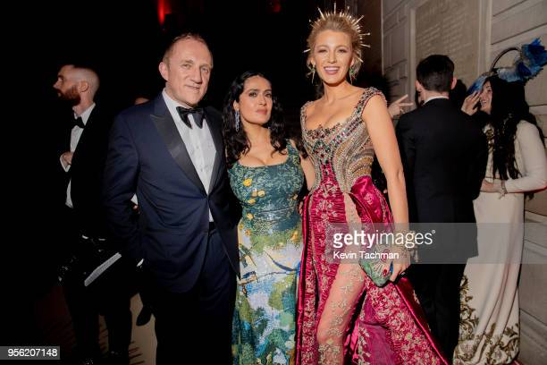 Francois-Henri Pinault, Salma Hayek and Blake Lively attend the Heavenly Bodies: Fashion & The Catholic Imagination Costume Institute Gala at The...