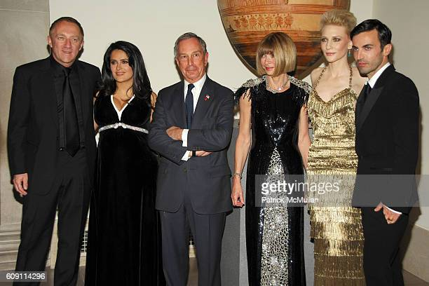FrancoisHenri Pinault Salma Hayek Mayor Michael Bloomberg Anna Wintour Cate Blanchette and Nicolas Ghesquiere attend The COSTUME INSTITUTE Gala in...