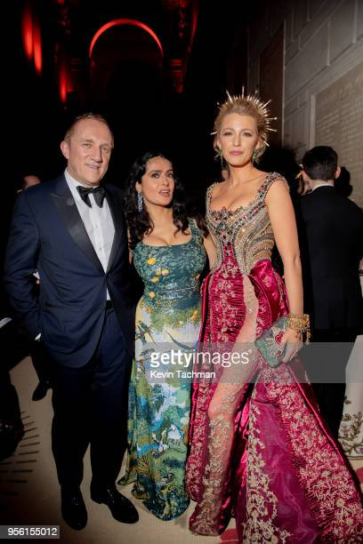 Francois-Henri Pinault, Salma Hayek-Pinault and Blake Lively attend the Heavenly Bodies: Fashion & The Catholic Imagination Costume Institute Gala at...