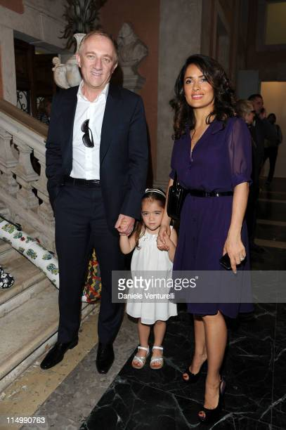 FrancoisHenri Pinault Valentina Paloma and Salma Hayek attends the 'Il Mondo Vi Appartiene' Exhibition Opening during the 54th International Art...