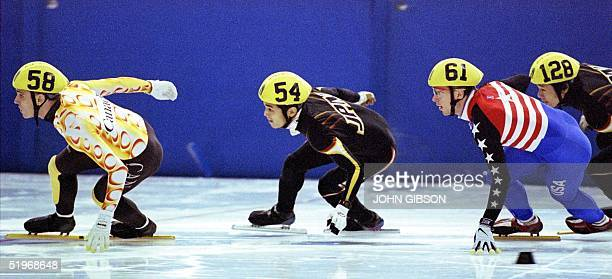 FrancoisLouis Tremblay of Canada leads Satoru Terao of Japan Rusty Smith of the USA and Takehiro Kodera of Japan during a preliminary heat of the...