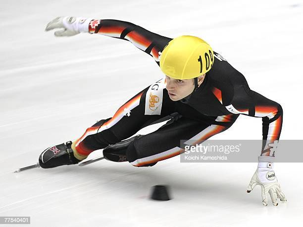 Francois-Louis Tremblay of Canada skates in the men's 500 Metres Final during the ISU World Cup Short Track at the Port Island Sports Center on...