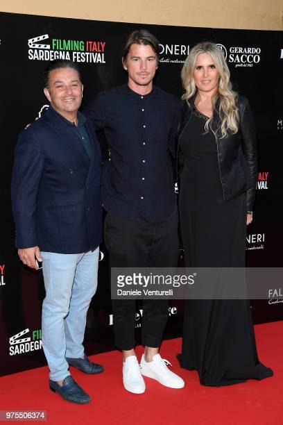 FrancoisMarc Sastre Josh Hartnett and Tiziana Rocca attend the 'Filming Italy Sardegna Festival' Dinner at Forte Village Resort on June 15 2018 in...