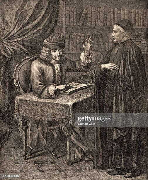 VOLTAIRE FrancoisMarie Arouet with a clergyman Caption reads 'Voltaire et le religieux' French writer philosopher playwright poet 16941778 Engraving...