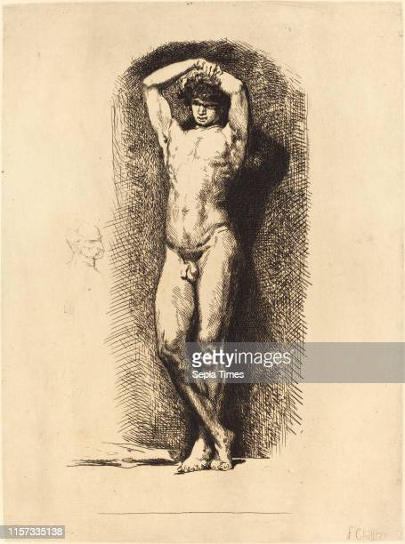 FrancoisNicolas Chifflart Male Academy French 1825 1901 etching with drypoint on laid paper