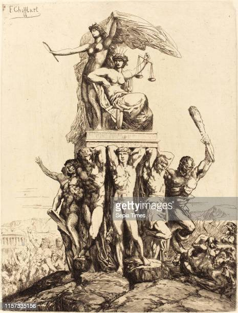 FrancoisNicolas Chifflart The Triumph of Justice and Truth French 1825 1901 etching with drypoint on laid paper