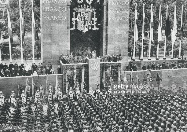 Francoist army parading in front of Francisco Franco, May 19 Madrid, Spain, Spanish Civil War, 20th century.