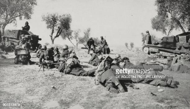 Francoist assault infantry advancing on Madrid Spain Spanish Civil war from L'Illustrazione Italiana Year LXVI No 16 April 16 1939