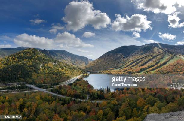 franconia notch state park during autumn in new hampshire usa white mountains national forest - great pond (new hampshire) stock photos and pictures