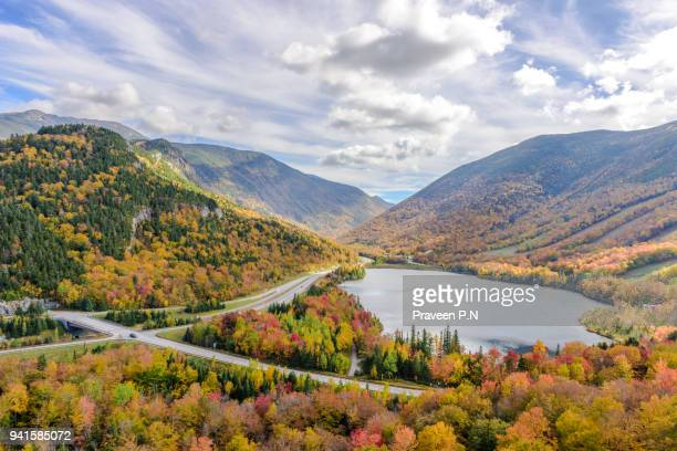 franconia notch state park during fall - state park stock pictures, royalty-free photos & images