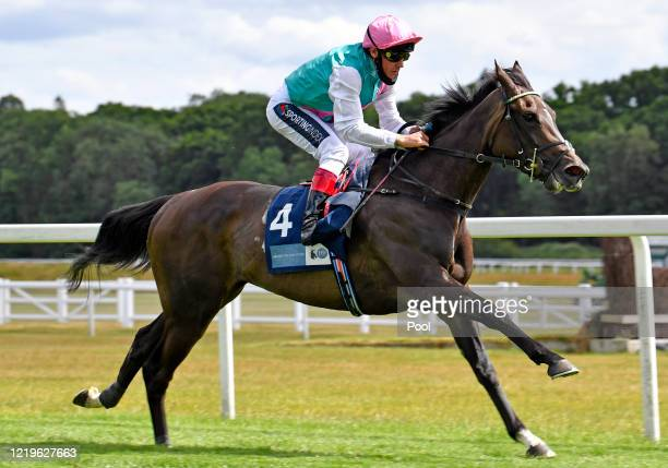 Franconia ridden by Frankie Dettori approaches the finish line to win the British Stallion Studs EBF MansionBet Abingdon Fillies Stakes at Newbury...