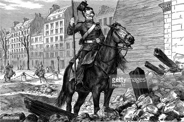 Franco-Prussian War 1870-71, Occupation of Paris by German forces - an Uhlan at the Arc de Triomphe. Wood engraving, 11 March 1871.
