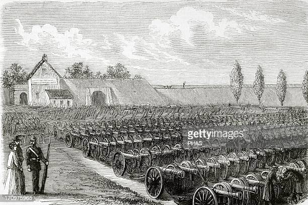 FrancoPrussian War Cannons taken in Sedan The Spanish Illustration 1871 Engraving by Capuz