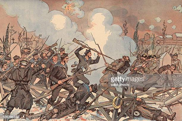 Franco-Prussian War of 1870. The Battle of Le Bourget during the Siege of Paris . On October 28-30, 1870. Coloured lithography.