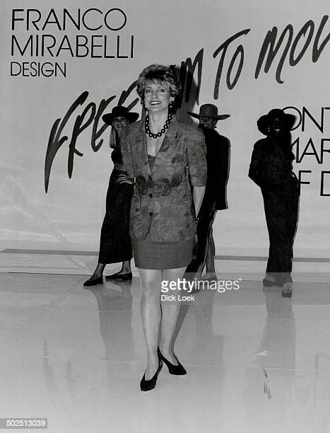 Franco's fashions At Franco Mirabelli's March of Dimes show CityTV's Ann Rohmer above left wears poppy floral jacket and short skirt Hair by Lynda...