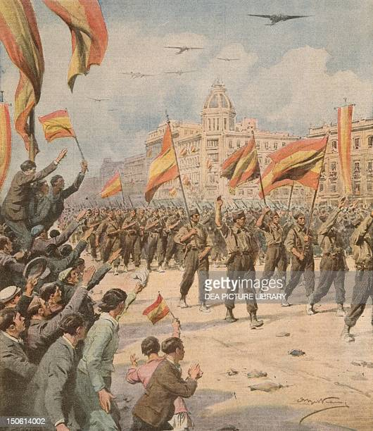 Franco's Spain entering Madrid with its victory flags Achille Beltrame from La Domenica del Corriere April 2 1939