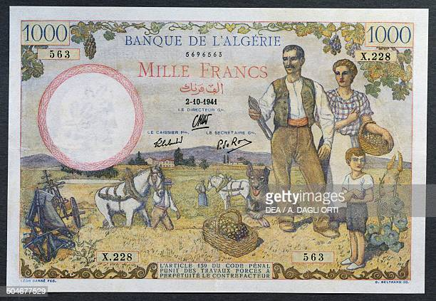 1000 francs banknote 19401949 obverse depicting a settler family Algeria 20th century
