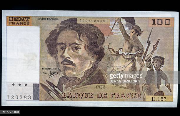 100 francs banknote 19781995 obverse Eugene Delacroix and detail from Liberty Leading the People France 20th century